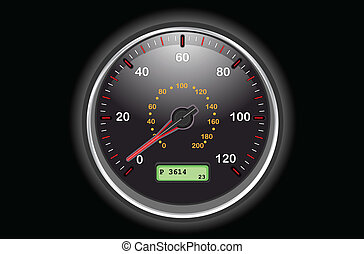 Car speedometer dial at night. Vector illustration saved as...
