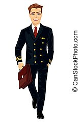 Handsome young man wearing airline pilot uniform walking with flight case on white background