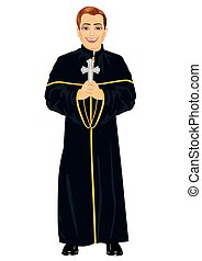 Young christian priest in cassock holding a cross on white...