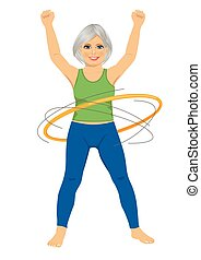 senior lady doing gymnastic with hula-hoop on white...