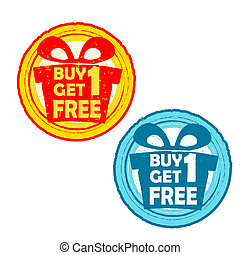 buy one get one free with gift signs, yellow red and blue...
