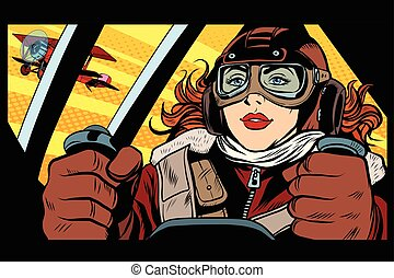Girl retro military pilot pop art retro style. The army and...