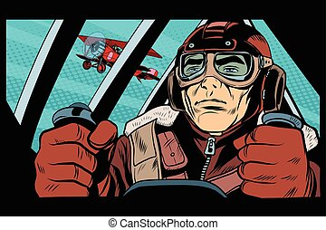 Pilot flying military aircraft pop art retro style. Retro...