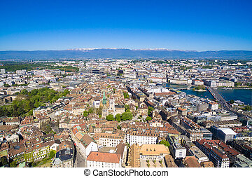 Aerial view of  Geneva city old town in Switzerland