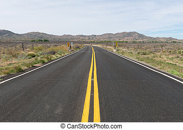 Arizona desert road - Road through the desert near Bagdad,...