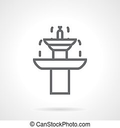 Garden fountain black line vector icon - Dripping two-tiered...