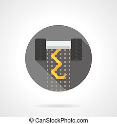 Plowing equipment flat color design vector icon - Yellow...