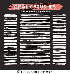 Big set of chalk brushes. Vector illustration
