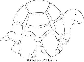 Black and white illustration of cartoon turtle
