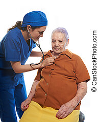 emergency check of old woman