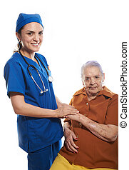 doctor holding patients hand