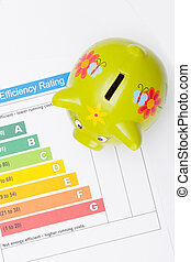 Energy efficiency chart and piggybank