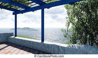 Terrace overlooking the calm sea at daytime 4K - Covered...