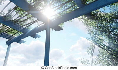Sun shines through pergola top - Sun shines through top of...