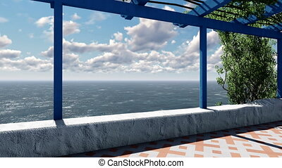 Summer terrace sea view with timelapse clouds - Summer view...