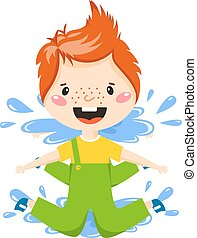 Boy in puddle vector illustration - Playful boy jumping in...