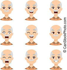 Old man emotions vector icons. - Active retirement old man...