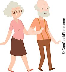 Retired couple vector illustration - Cheerful senior couple...