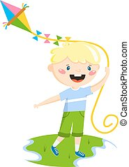 Playing boy vector illustration. - Little boy plays with fly...