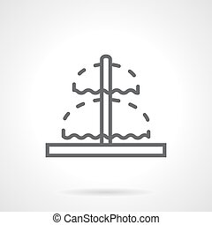 Line fountain sign black vector icon - Double fountain with...