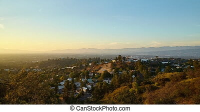 View from Hollywood hills on San Fernando valley California...