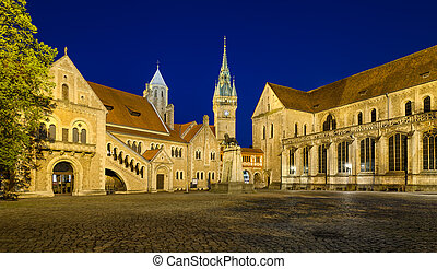 Burgplatz square in Braunschweig, Germany at night