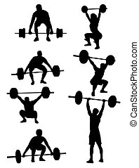 Weightlifter Silhouettes, art vector design