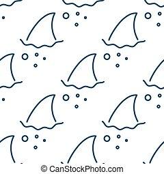 Shark fin in water waves seamless pattern Flipper of fish in...