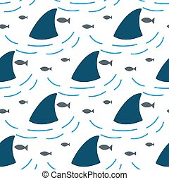 Shark fin in water waves seamless pattern. Flipper and fish...