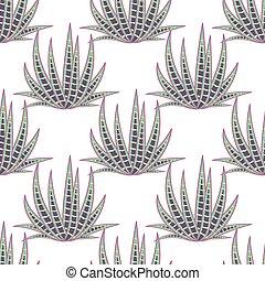 Agave succulent desert seamless pattern. Green botany aloe...