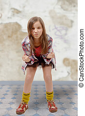 Portrait of a young angry preteen - a portrait of a young...