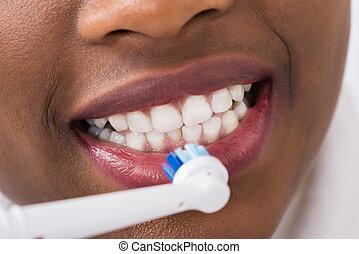 刷, 牙刷, 婦女, 電, 牙齒
