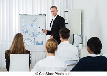 Businessman Explaining Business Chart To His Colleagues