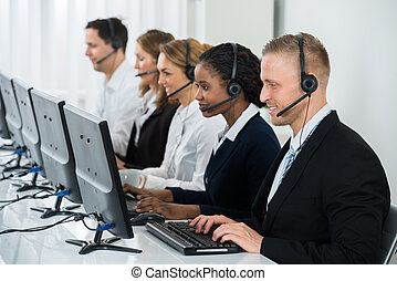 Businesspeople Working In Call Center