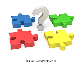 3D puzzle and question mark. Concept solution. - 3D puzzle...