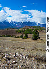 vew of the glacier in the snow-capped peaks - Vertical vew...