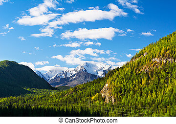 Summer mountains snow-capped peaks - Summer mountains view...