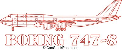 B747, a commercial passenger airplane.
