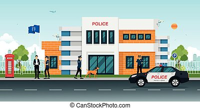 police station - Police station with police cars and police...