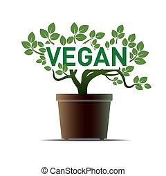 Green Flower and Pot. Vector Illustration. Vegan.