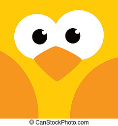 square bird face icon button theme vector art illustration
