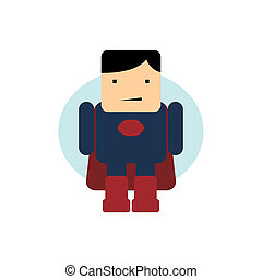 little superhero flat cartoon theme vector art illustration