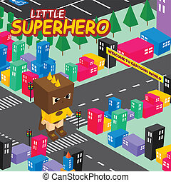 cartoon superhero isometric theme vector art illustration