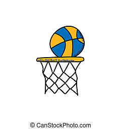 basketball cartoon icon theme vector art illustration