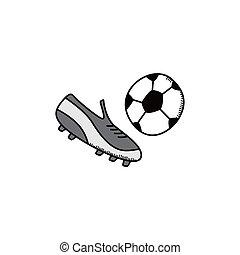 futbol, caricatura, icono, tema,