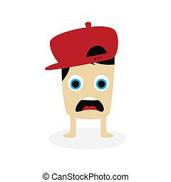 happy little monster character theme vector art illustration