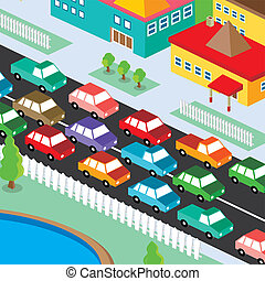 isometric residential view cartoon theme vector illustration