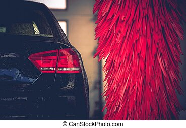 Brush Car Wash Car Cleaning. Red Car Wash Brushes Ready to...