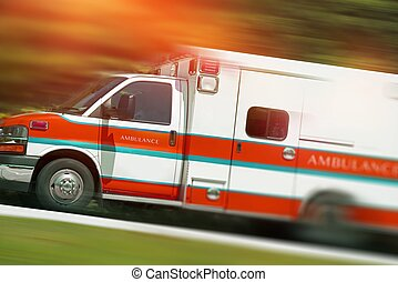 Ambulance Emergency Call. Speeding Ambulance Vehicle....
