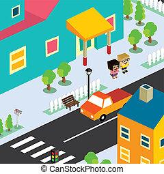 isometric couple residential view cartoon theme - isometric...